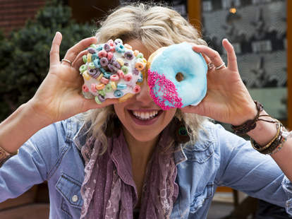 Portland girl with donuts