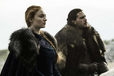 Kit Harington as Jon Snow and Sophie Turner as Sansa Stark in Battle of the Bastards
