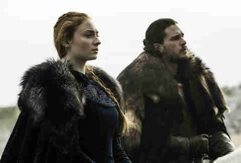 Kit Harington as Jon Snow and Sophie Turner as Sansa Stark in Battle of the Bastards