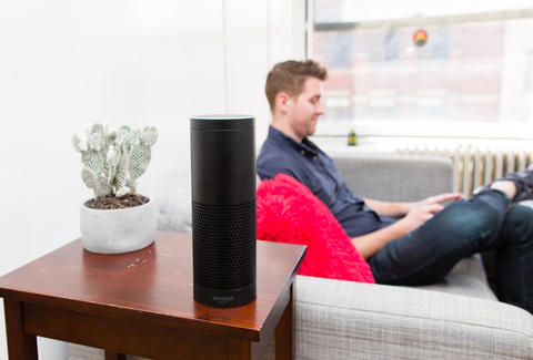 amazon echo with man
