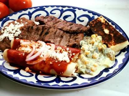 carne asada and enchiladas
