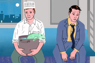 men sitting on subway illustration