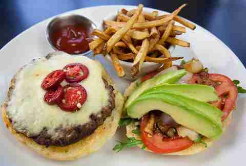 The burger at the Backstreet Cafe