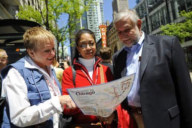 Tourists get directions in Chicago