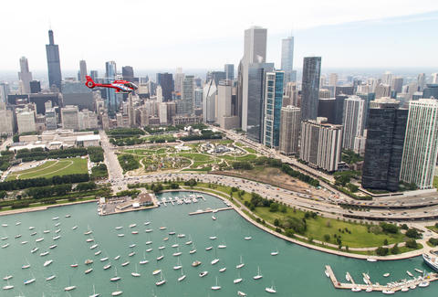 Helicopter tour of Chicago