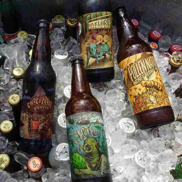 Beers from the Evans Brewing Company on ice
