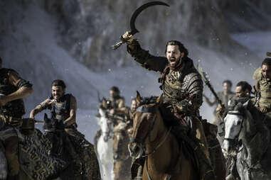 Michiel Huisman as Daario Naharis riding with the Dothraki