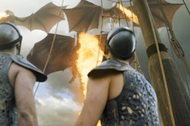 Dragons destroy a ship during the Siege of Meereen