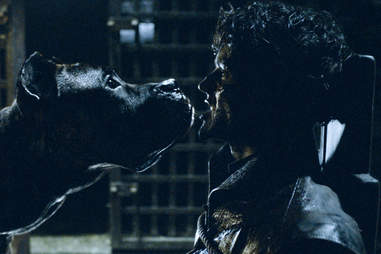 Iwan Rheon as Ramsay Bolton dies after getting his face chewed off by his dogs.