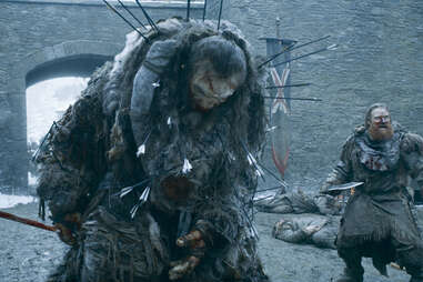 Kit Harington, Ian Whyte, Kristofer Hivju as Jon Snow, Wun Wun the Giant, and Tormund Giantsbane