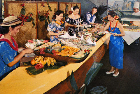 1965 postcard, traditional Hawaiian feast