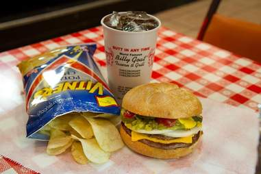 Burger and chips at the Billy Goat Tavern