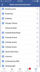 screenshot of facebook app on ios
