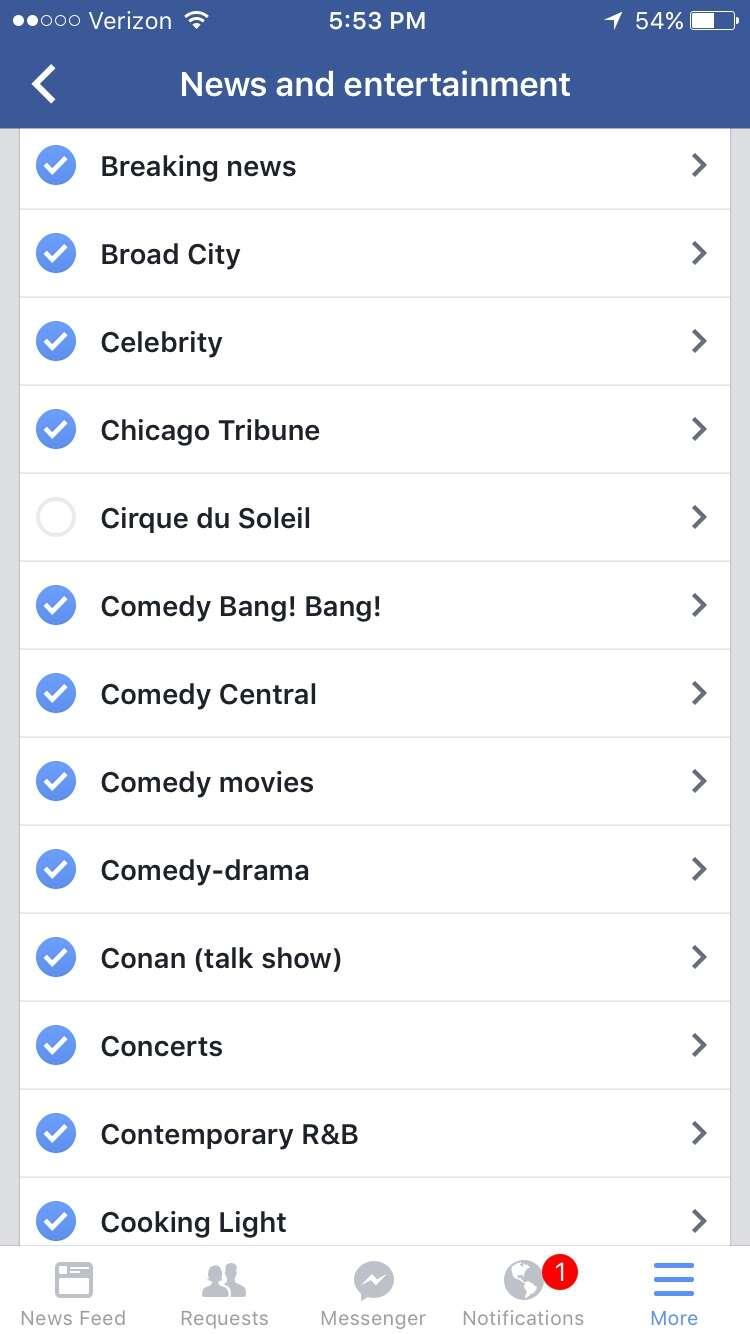 screenshot of facebook app on ios