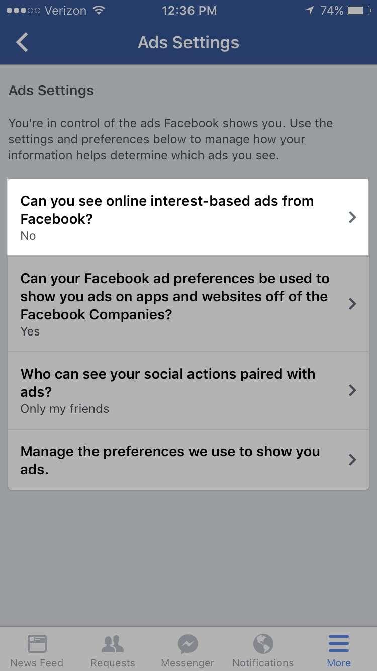 Facebook app settings iOS