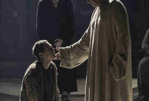 Finn Jones as Loras Tyrell and Jonathan Pryce as the High Sparrow in Game of Thrones season finale The Winds of Winter