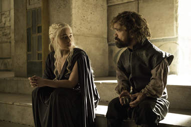 Emilia Clarke as Daenerys Targaryen and Peter Dinklage as Tyrion Lannister in Game of Thrones season finale The Winds of Winter