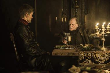Nikolaj Coster-Waldau as Jaime Lannister and David Bradley as Walder Frey in Game of Thrones season finale The Winds of Winter
