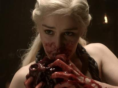 Daenerys eating horse heart, Game of Thrones
