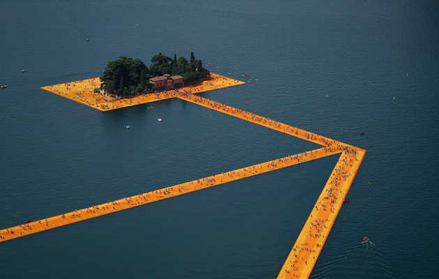 You Can Walk to This Tiny Island on a Floating Ribbon Bridge