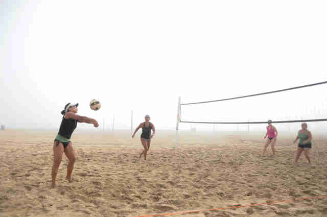 Volleyball in the fog