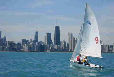 Sailing in the Lake Michigan harbor