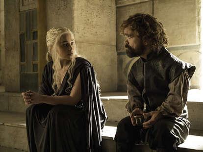 Emilia Clarke as Daenerys Targaryen and Peter Dinklage as Tyrion Lannister in Season 6 of Game of Thrones