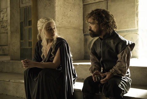 Emilia Clarke as Daenerys Targaryen and Peter Dinklage as Tyrion Lannister in Season 6 of Game of Thrones