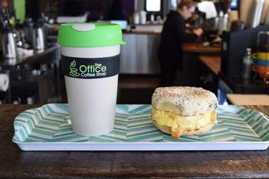 Coffee and a bagel at The Office