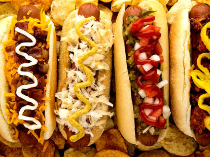 Various American hot dogs