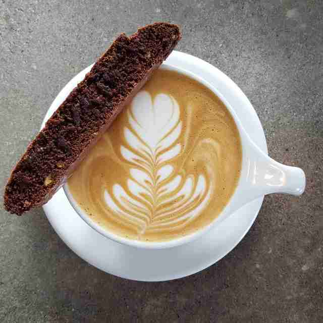 Latte and a biscotti at Preserve & Gather