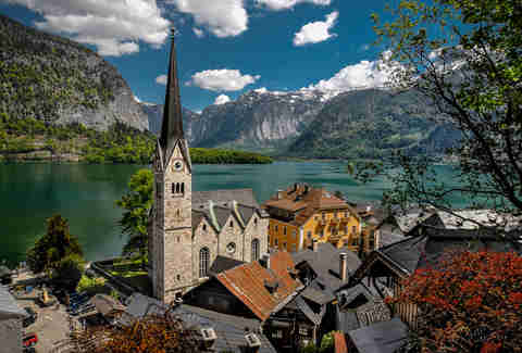 The town of Hallstatt in Austria