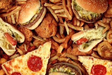 Salty fast food processed