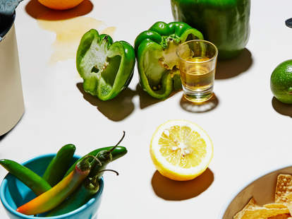 Mezcal and peppers