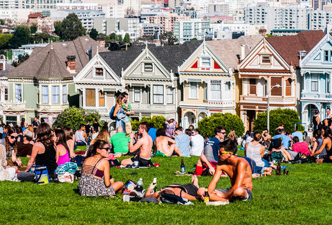 Sun tanning at the painted ladies