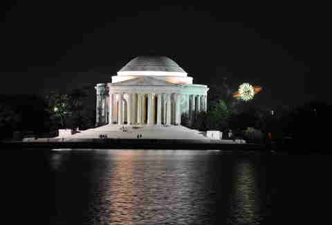 Fireworks and the Jefferson Memorial