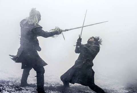 Kit Harington as Jon Snow faces off against a White Walker in Hardhome