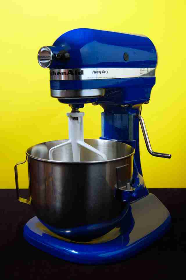 blue kitchen aid stand mixer