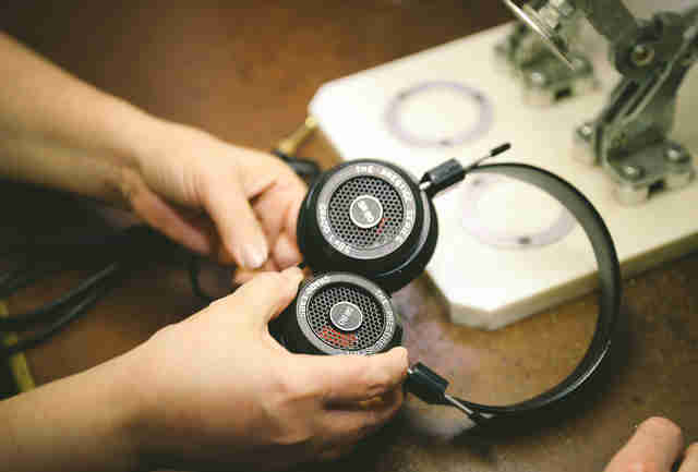 woman making grado headphones