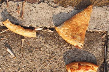 pizza on ground