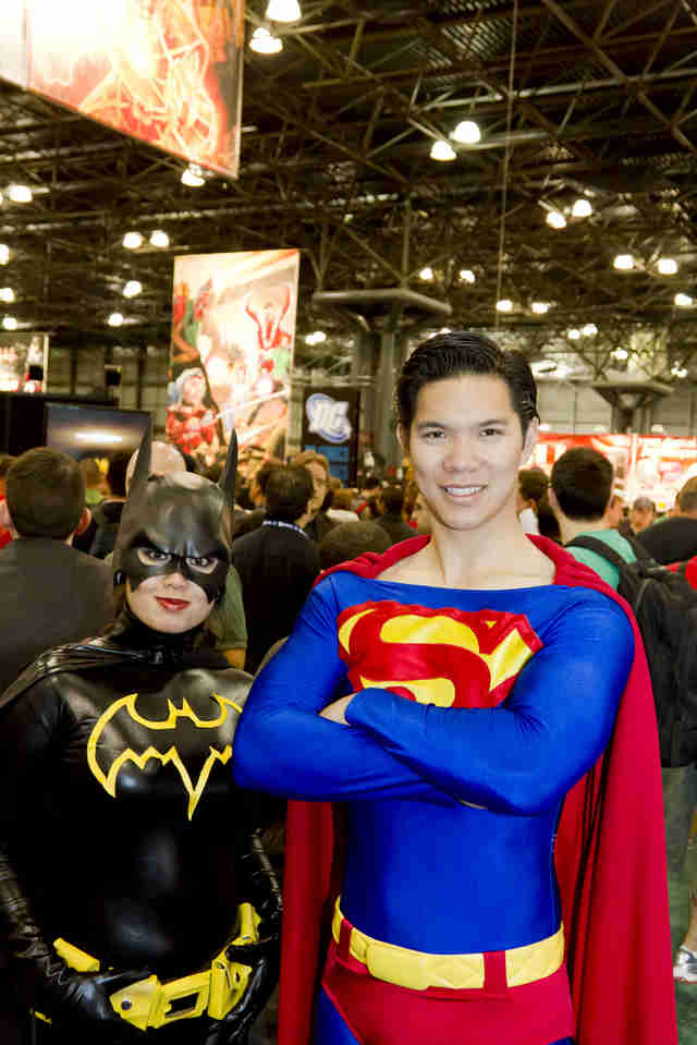 Batman and Superman couple cosplaying Comic Con