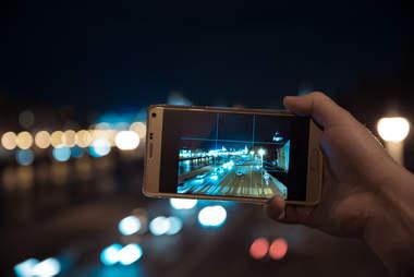 iphone taking photo at night