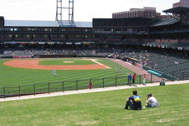 Autozone Park Memphis Redbirds baseball stadium grass outfield