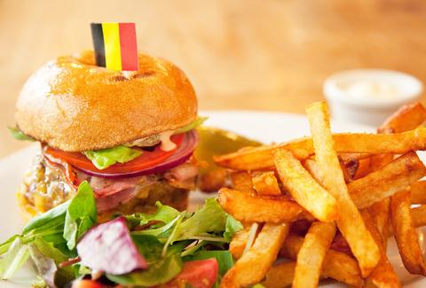 burger and belgian fries