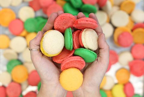 handful of french macarons