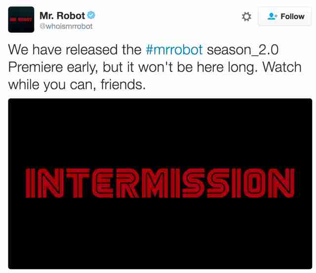 Mr. Robot Season 2 premiere