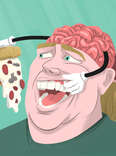 illustration brain weight loss pizza