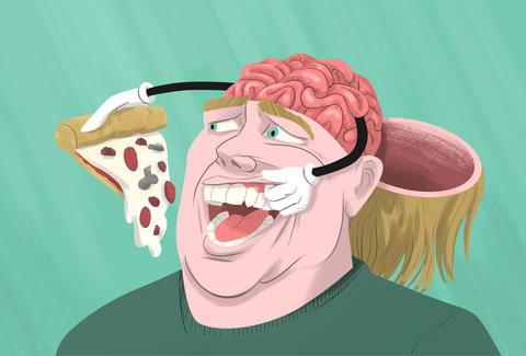 illustration brain weight loss pizza