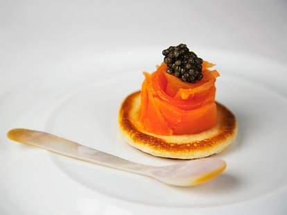 smoked salmon with caviar