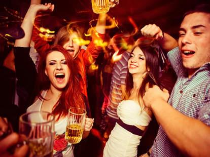 partying at bar